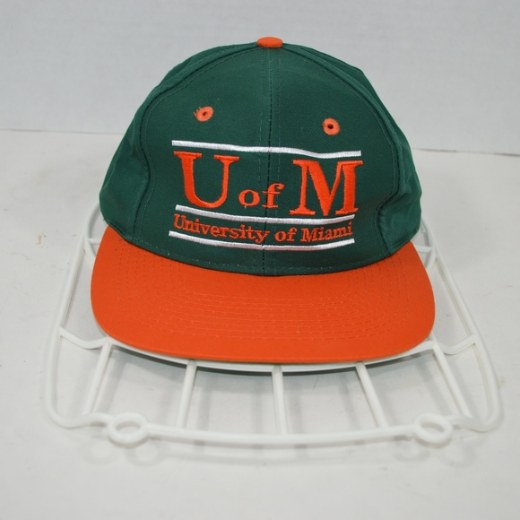 Vintage 90s THE GAME Miami Hurricanes Snapback Hat e10e5d837fa
